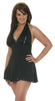 Halter Top Flair Skirt Dress w/Rhinestones